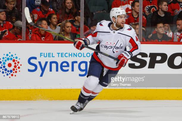 Tom Wilson of the Washington Capitals in an NHL game against the Washington Capitals at the Scotiabank Saddledome on October 29 2017 in Calgary...