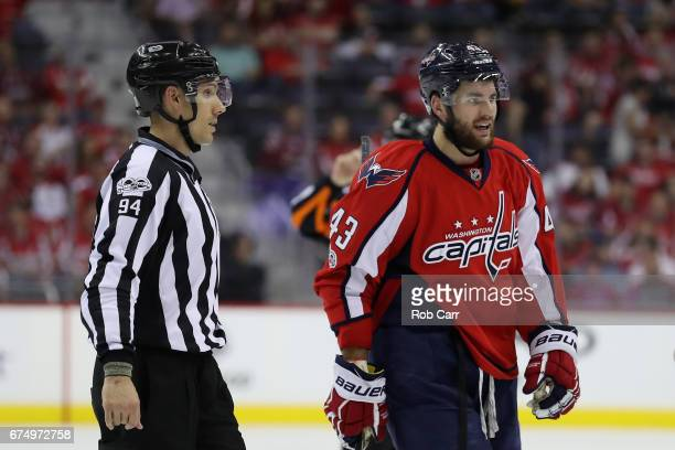 Tom Wilson of the Washington Capitals leaves the ice after being called for penalty in the third period against the Pittsburgh Penguins in Game Two...