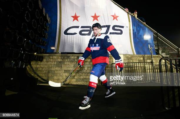 Tom Wilson of the Washington Capitals makes his way back to the locker room after the period during the 2018 Coors Light NHL Stadium Series game...