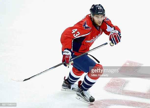 Tom Wilson of the Washington Capitals plays in the game against the Carolina Hurricanes at Verizon Center on October 17 2015 in Washington DC