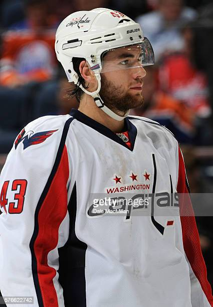 Tom Wilson of the Washington Capitals plays in the game against the Edmonton Oilers at Rexall Place on October 23 2015 in Edmonton Alberta Canada