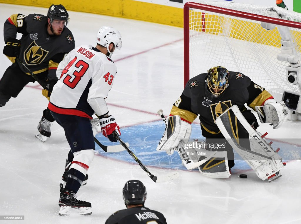 new concept 8bf00 45c0c Tom Wilson of the Washington Capitals scores a goal as Marc ...