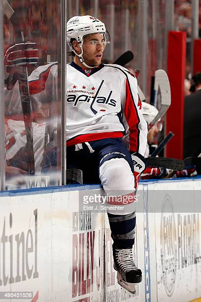 Tom Wilson of the Washington Capitals sits on the boards between shifts against the Florida Panthers at the BBT Center on October 31 2015 in Sunrise...