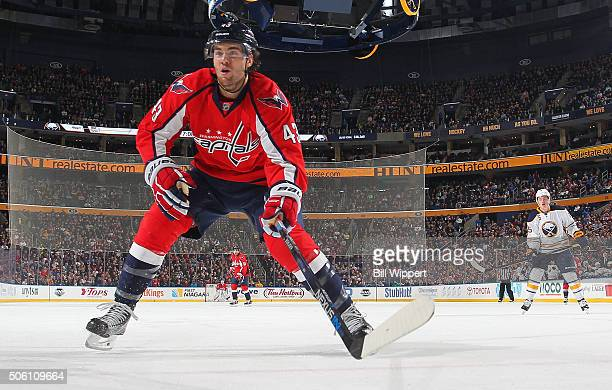 Tom Wilson of the Washington Capitals skates against the Buffalo Sabres during an NHL game on January 16 2016 at the First Niagara Center in Buffalo...