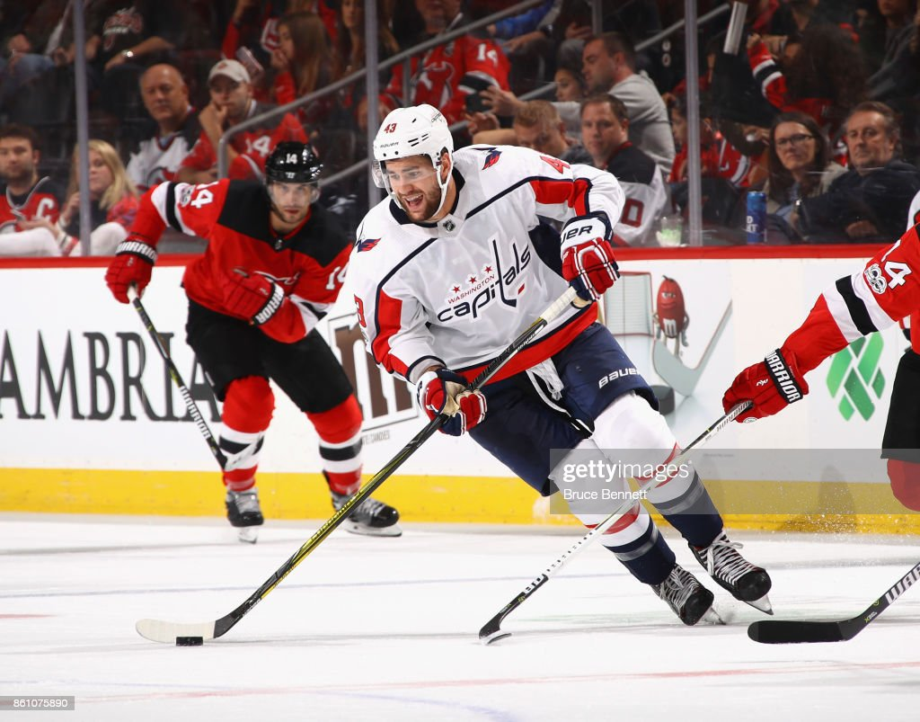 ddd83f745 Tom Wilson of the Washington Capitals skates against the New Jersey ...
