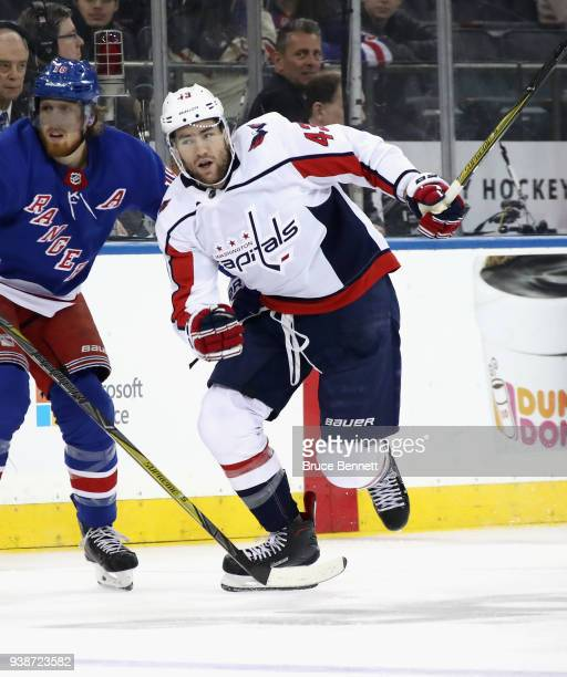 bbd732aac36 Tom Wilson of the Washington Capitals skates against the New York Rangers  at Madison Square Garden