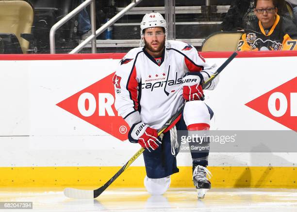Tom Wilson of the Washington Capitals skates against the Pittsburgh Penguins in Game Six of the Eastern Conference Second Round during the 2017 NHL...