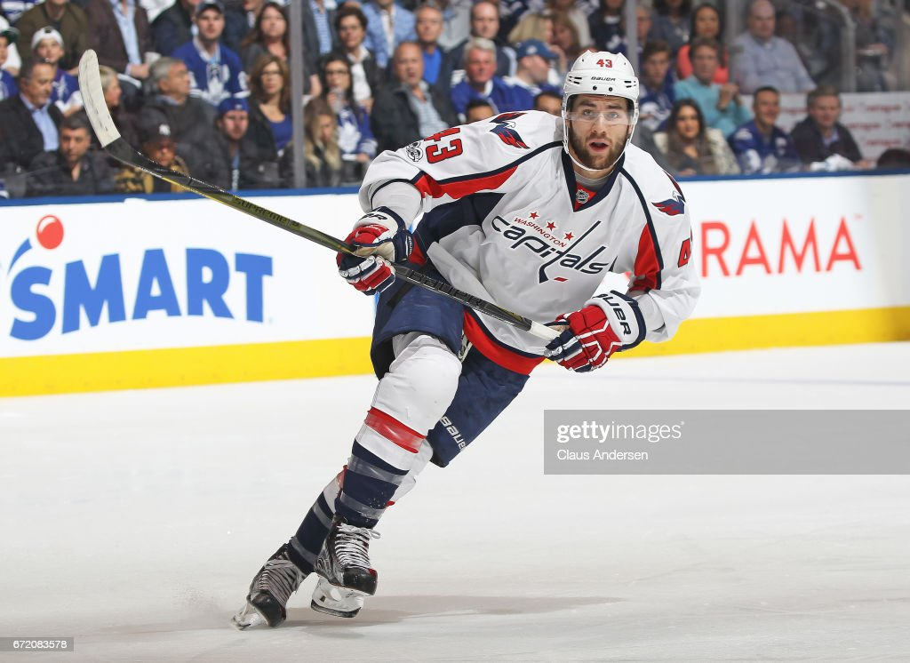 Tom Wilson #43 of the Washington Capitals skates against the Toronto Maple Leafs in Game Six of the Eastern Conference Quarterfinals during the 2017 NHL Stanley Cup Playoffs at the Air Canada Centre on April 23, 2017 in Toronto, Ontario, Canada. The Capitals defeated the Maple Leafs 2-1 in overtime to win series 4-2.