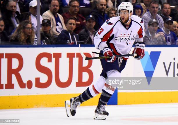 Tom Wilson of the Washington Capitals skates against the Toronto Maple Leafs during the third period in Game Six of the Eastern Conference First...