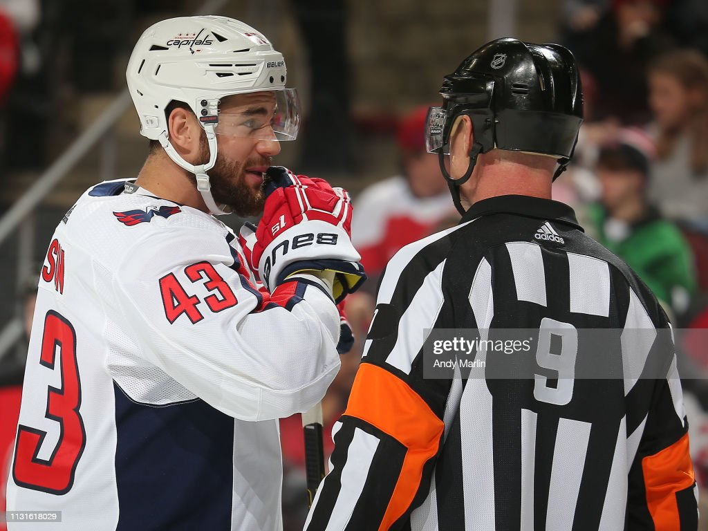 factory price 0231f 187ab Tom Wilson of the Washington Capitals talks with referee Dan ...