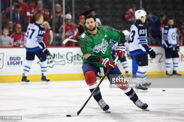 Tom Wilson of the Washington Capitals warms up before a game against the Winnipeg Jets at Capital One Arena on March 10 2019 in Washington DC