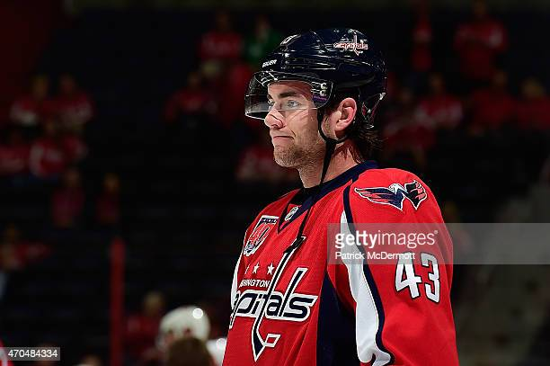 a53ea7ee6 Tom Wilson of the Washington Capitals warms up prior to playing against the  New York Islanders