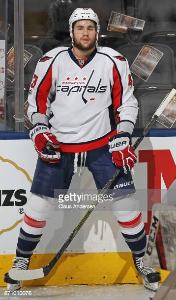 Tom Wilson of the Washington Capitals warms up prior to playing against the Toronto Maple Leafs in Game Four of the Eastern Conference Quarterfinals...