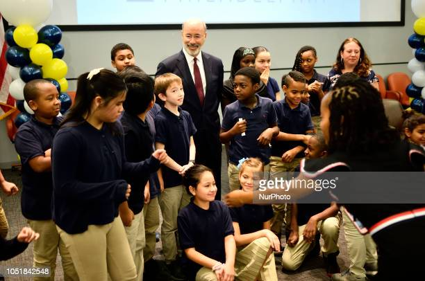 Tom Wolf Incumbent and Democratic candidate and Scott Wagner Republican candidate for the seat of Governor of Pennsylvania attend a student forum in...