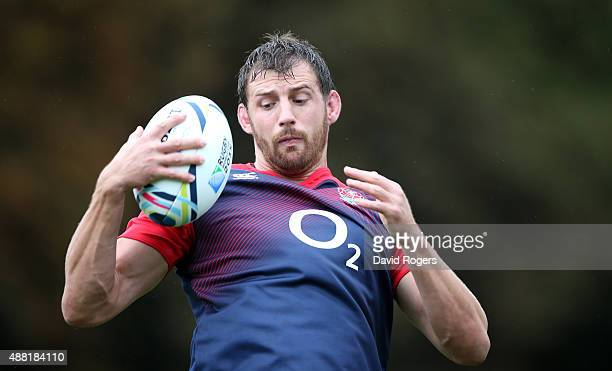 Tom Wood catches the ball during the England training session at Pennyhill Park on September 14 2015 in Bagshot England