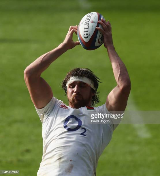 Tom Wood catches the ball during the England training session held at Twickenham Stadium on February 17 2017 in London England