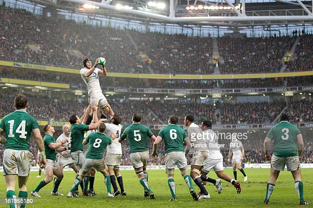 Tom Wood in action during the RBS Six Nations match between Ireland and England at Aviva Stadium on February 10 2013 in Dublin Ireland