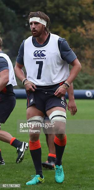 Tom Wood looks on during the England training session at Pennyhill Park on November 8 2016 in Bagshot England