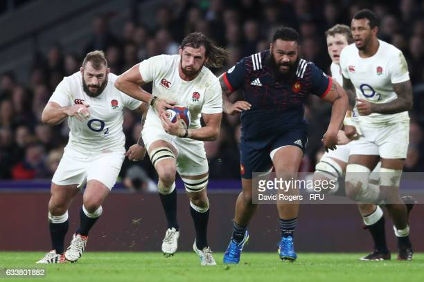 Tom Wood of England charges upfield during the RBS Six Nations match between England and France at Twickenham Stadium on February 4, 2017 in London,...