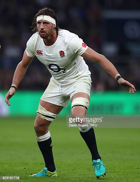 Tom Wood of England looks on during the Old Mutual Wealth Series match between England and South Africa at Twickenham Stadium on November 12 2016 in...