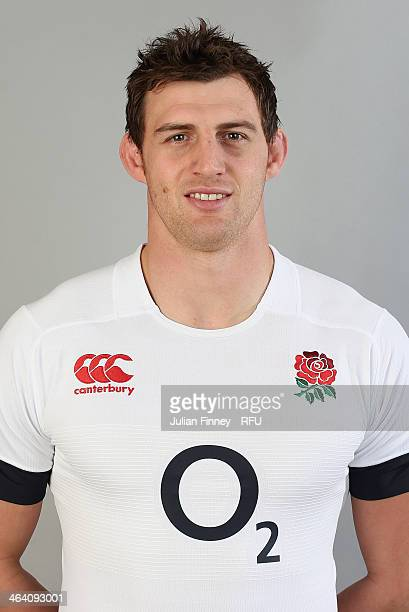 Tom Wood of England poses for a portrait during the England Six Nations Squad Photo Call at the Penny Hill Hotel on January 20 2014 in Bagshot England