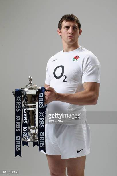 Tom Wood of England poses with the RBS Six Nations Trophy during the RBS Six Nations Launch at The Hurlingham Club on January 25 2012 in London...