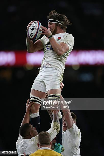 Tom Wood of England wins lineout ball during the Old Mutual Wealth Series match between England and Australia at Twickenham Stadium on December 3...