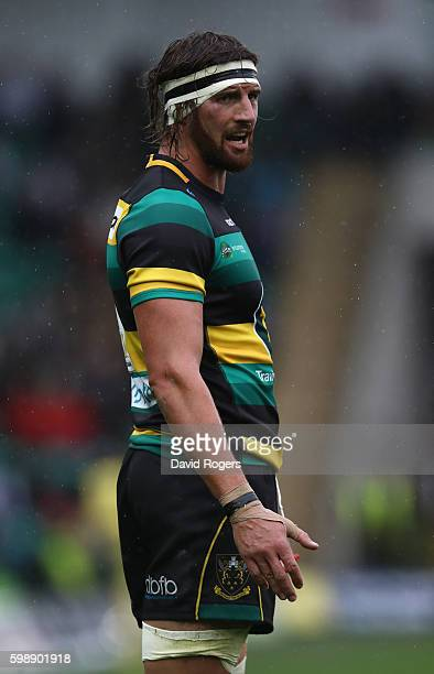 Tom Wood of Northampton looks on during the Aviva Premiership match between Northampton Saints and Bath at Franklin's Gardens on September 3 2016 in...