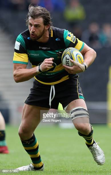 Tom Wood of Northampton runs with the ball during the Aviva Premiership match between Northampton Saints and Saracens at Stadium mk on April 16 2017...