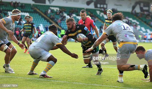 Tom Wood of Northampton Saints charges to score a second half try during the Gallagher Premiership Rugby match between Northampton Saints and Wasps...