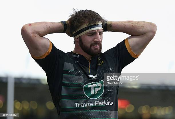 Tom Wood of Northampton Saints shows his frustration during the European Rugby Champions Cup match between Northampton Saints and Racing Metro 92 at...