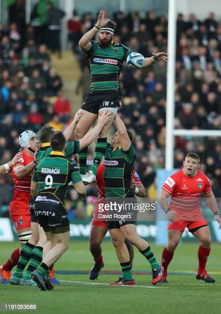 Tom Wood of Northampton Saints wins the lineout during the Gallagher Premiership Rugby match between Northampton Saints and Leicester Tigers at...
