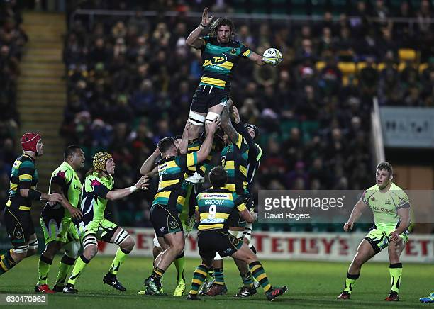 Tom Wood of Northampton wins the lineout ball during the Aviva Premiership match between Northampton Saints and Sale Sharks at Franklin's Gardens on...