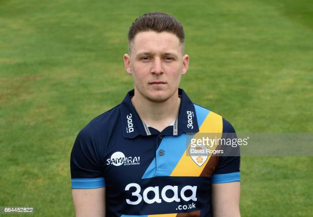 Tom Wood poses in the NatWest T20 Blast kit during the Derbyshire County Cricket photocall held at The 3aaa County Ground on April 4 2017 in Derby...