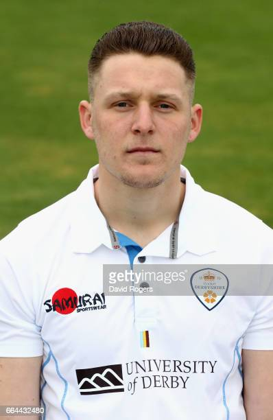 Tom Wood poses in the Specsavers County Championship kit during the Derbyshire County Cricket photocall held at The 3aaa County Ground on April 4...