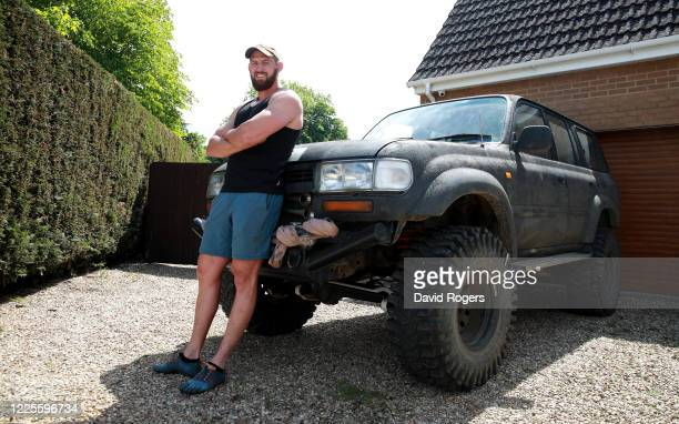 Tom Wood, the Northampton Saints and England back row forward, poses with his four wheel drive vehicle on May 18, 2020 in Northampton, United Kingdom.
