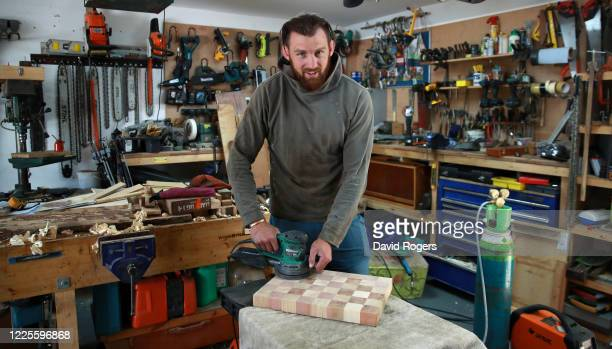 Tom Wood, the Northampton Saints and England back row forward, who is a talented carpenter, works in his workshop on May 18, 2020 in Northampton,...