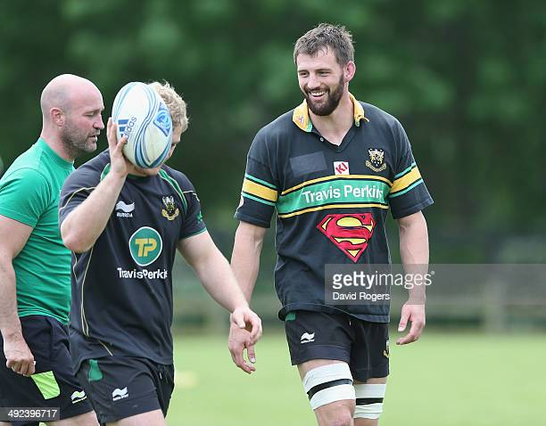 Tom Wood, who scored the match winning try against Leicester Tigers in the Aviva Premiership semi final match, wears the weekly Superman award shirt...