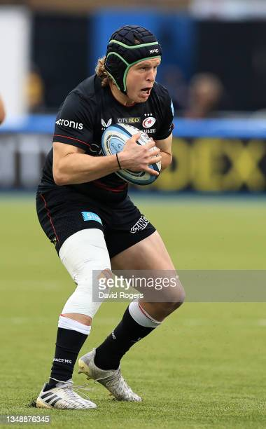 Tom Woolstencroft of Saracens charges upfield during the Gallagher Premiership Rugby match between Saracens and Wasps at StoneX Stadium on October...