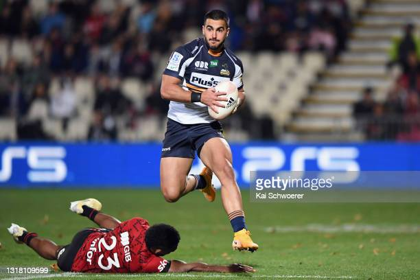 Tom Wright of the Brumbies charges forward during the round one Super Rugby Trans-Tasman match between the Crusaders and the ACT Brumbies at...