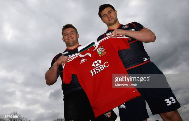 Tom Youngs and Ben Youngs of Leicester Tigers pictured after being announced in the British and Irish Lions squad at Oval Park on April 30 2013 in...
