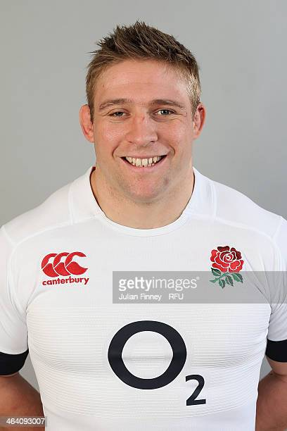 Tom Youngs of England poses for a portrait during the England Six Nations Squad Photo Call at the Penny Hill Hotel on January 20 2014 in Bagshot...