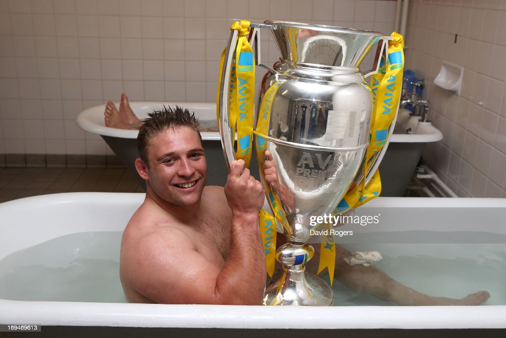Tom Youngs of Leicester poses with trophy following his team's 37-17 during the Aviva Premiership Final between Leicester Tigers and Northampton Saints at Twickenham Stadium on May 25, 2013 in London, England.