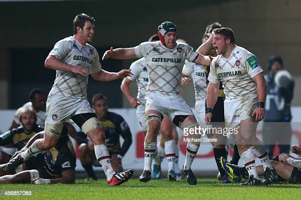 Tom Youngs of Leicester Tigers celebrates scoring his sides first try during the Heineken Cup Pool 5 match between Montpellier and Leicester Tigers...