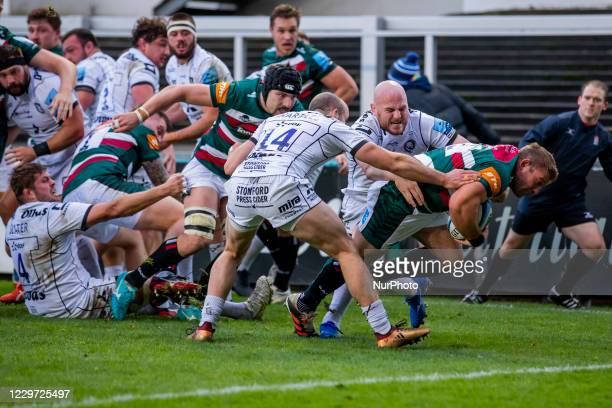 Tom Youngs of Leicester Tigers scores his sides second Try during the Gallagher Premiership match between Leicester Tigers and Gloucester Rugby at...