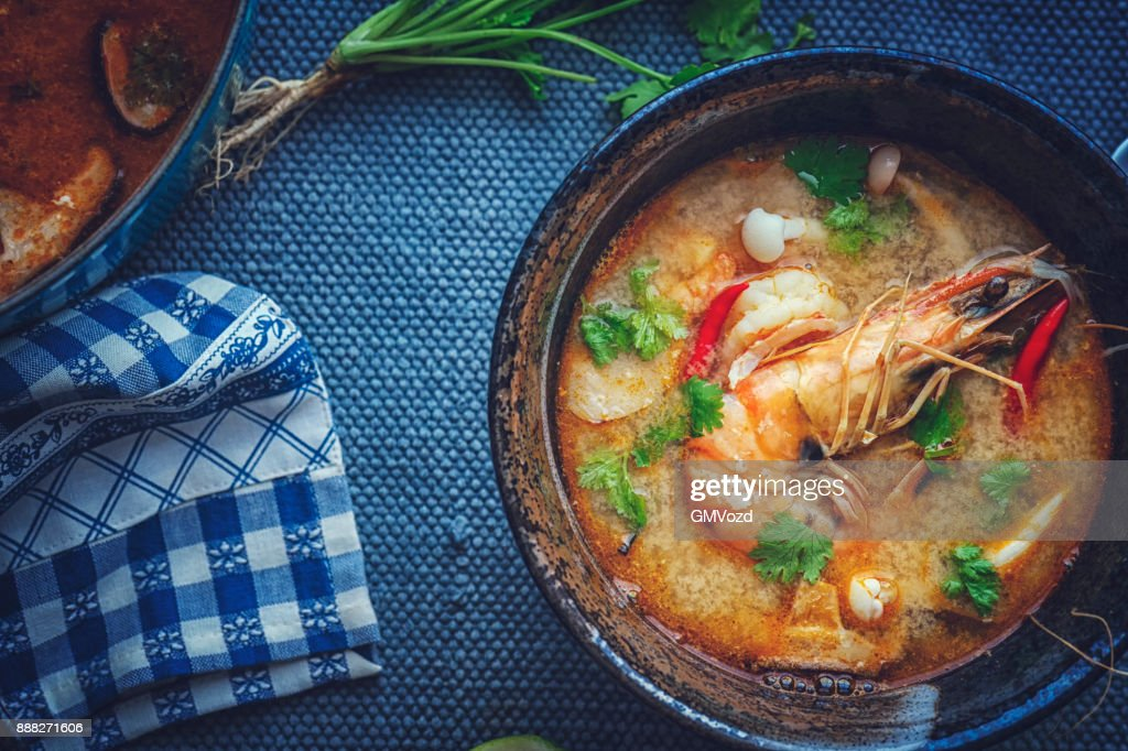 Tom Yum Goong Nam Kon Thai Soup with Shrimps, Enoki Mushrooms and Fresh Chili : Stock Photo