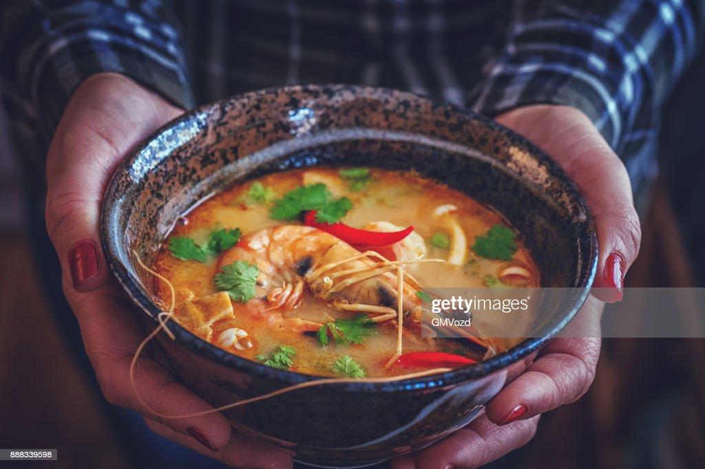 Tom Yum Goong Nam Kon Thai Soup with Shrimps, Enoki Mushrooms and Fresh Chili : Stock Photo