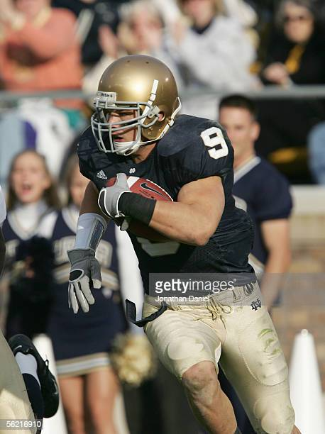 Tom Zbikowski of the Notre Dame Fighting Irish carries the ball during the game against the Navy Midshipman on November 12 2005 at Notre Dame Stadium...