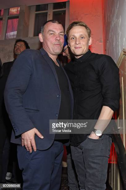 Tom Zickler and Matthias Schweighoefer during the Pantaflix Panta Party on February 19 2018 in Berlin Germany