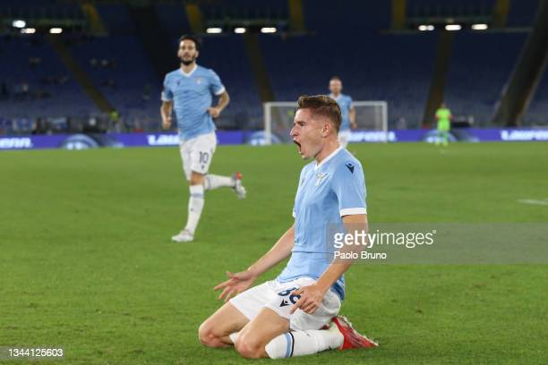 Toma Basic of SS Lazio celebrates after scoring their sides first goal during the UEFA Europa League group E match between SS Lazio and Lokomotiv...